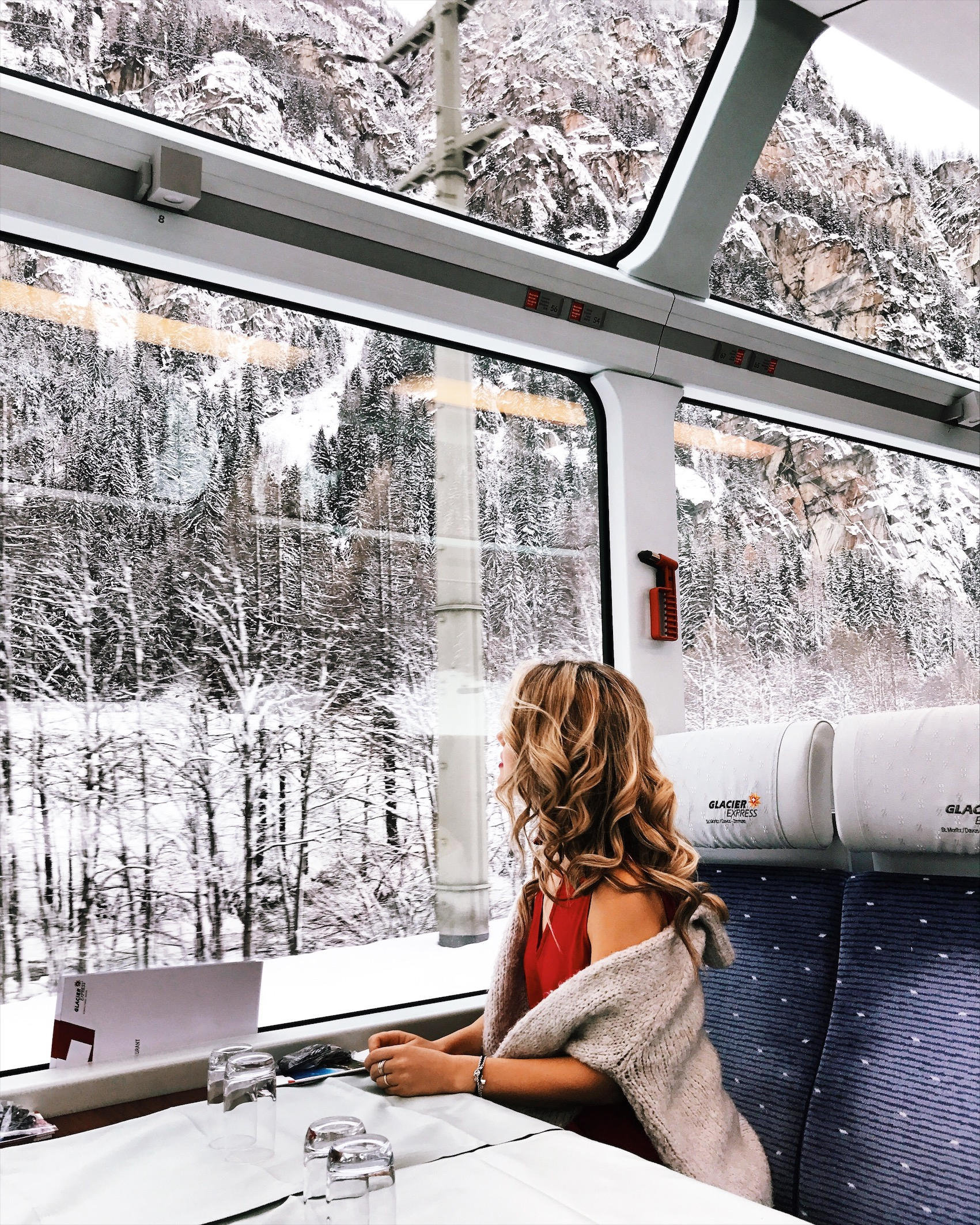 Glacier Express travel through Alps in Switzerland