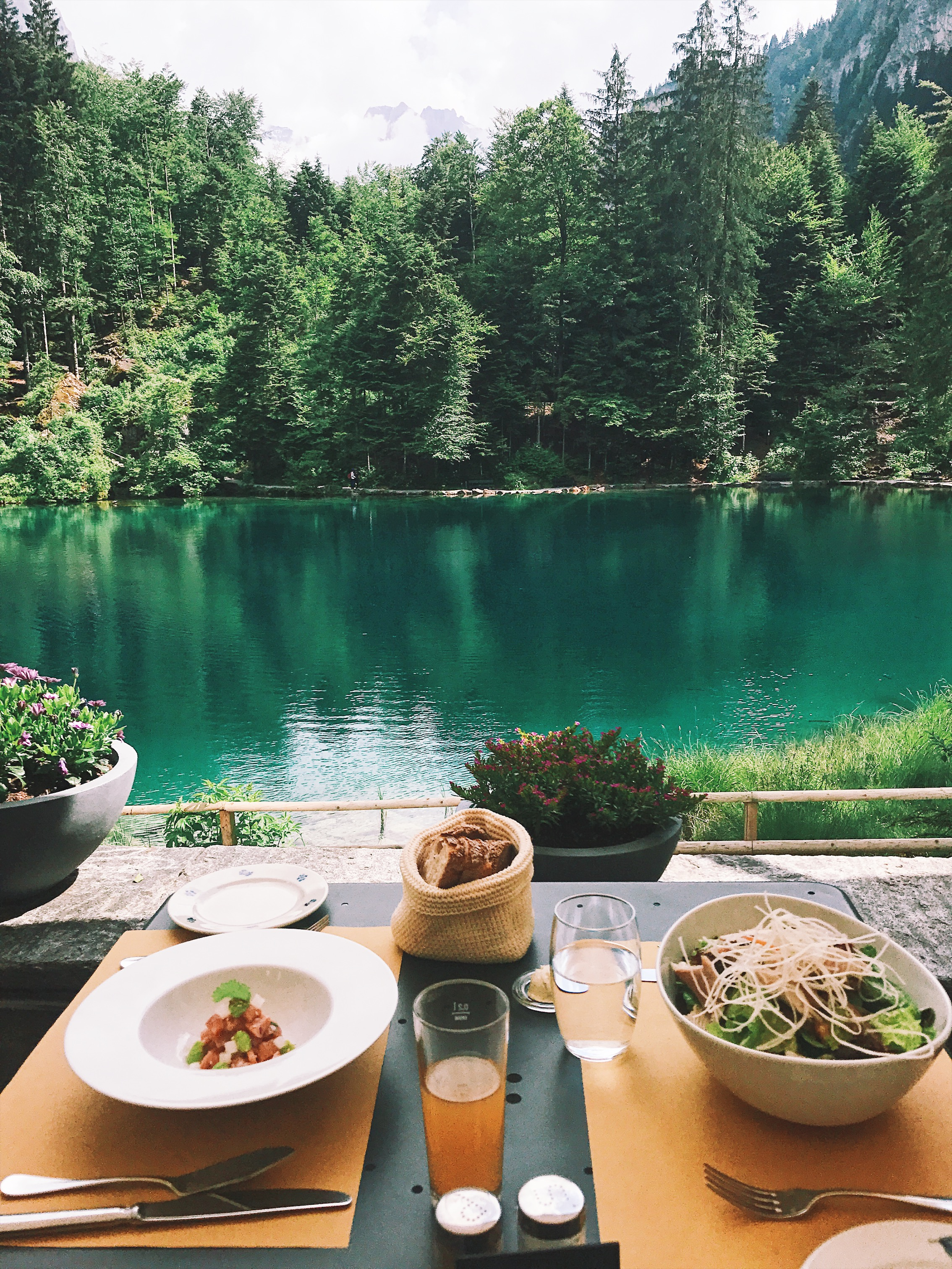 Lunch at the Blausee restaurant