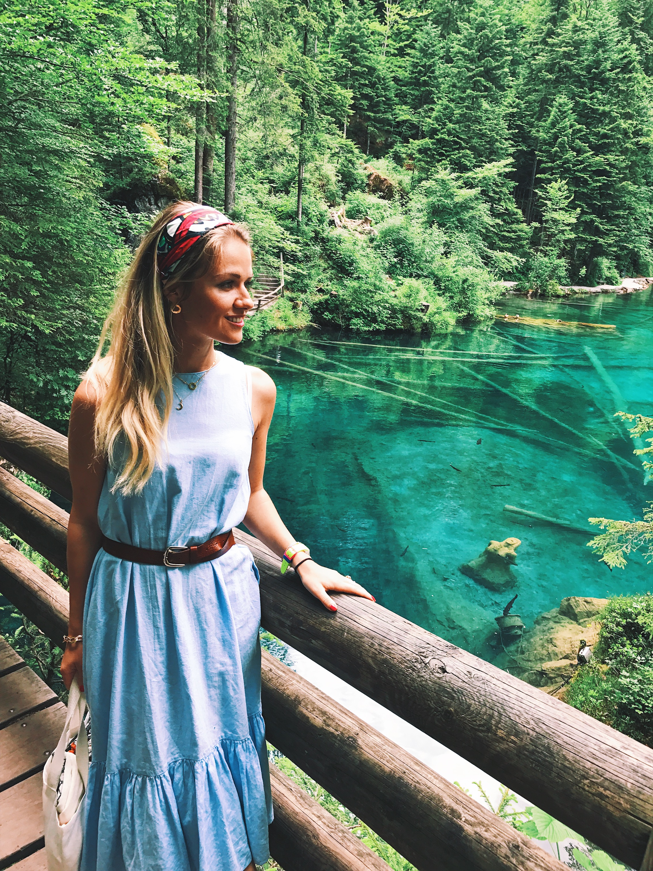 Exploring Blausee in the Alps, Switzerland