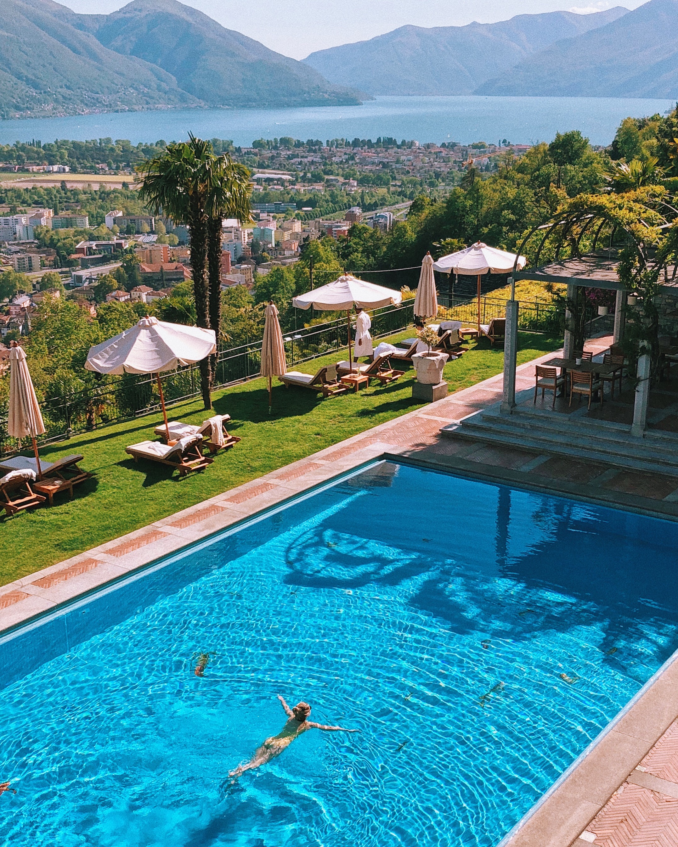 Swimming pool at Villa Orselina hotel in Locarno Switzerland